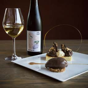 """Trilogie de desserts du Jardin de l'Abbaye avec notre Vin de France Vendanges tardives """"Songe d'une nuit d'été"""""""